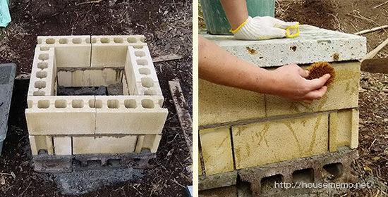 バーベキューコンロの土台、タワシではみでたモルタルを洗う