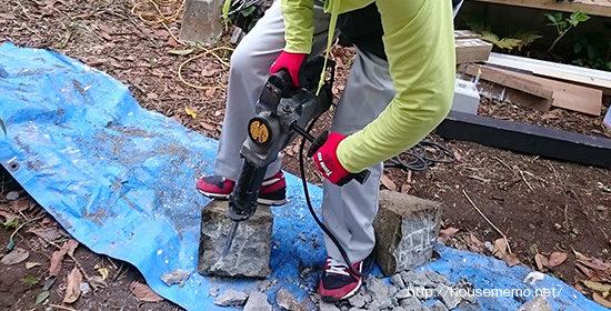 ウッドデッキ用束石の補修