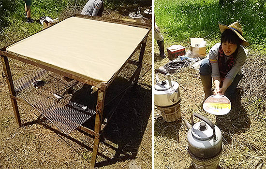 お茶作りのための鉄板