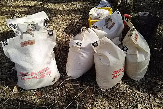 籾が入った脱穀の袋