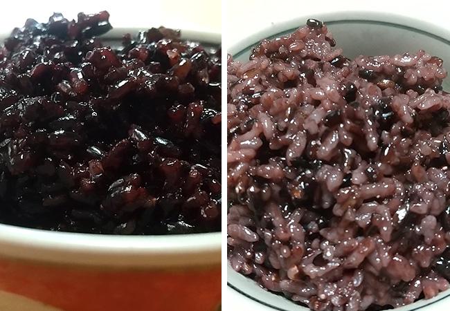 100%黒米と白米に15%混ぜた黒米