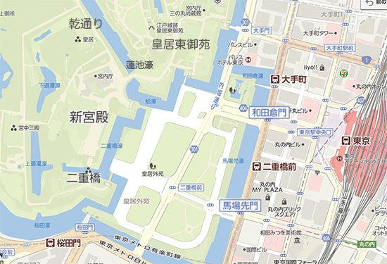 東京駅から皇居、新宮殿や乾通りへ至る地図